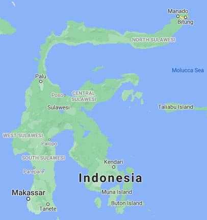 Остров Сулавеси, гр. Манадо е горе вдясно